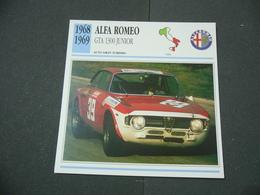 CARTOLINA CARD SCHEDA TECNICA  AUTO  CARS  ALFA ROMEO GTA 1300 JUNIOR - Altre Collezioni