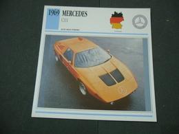 CARTOLINA CARD SCHEDA TECNICA  AUTO  CARS MERCEDES C 111 - Altre Collezioni