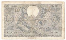 BELGIQUE 100 FRANCS-20 BELGAS 1939  - 2 SCANS - [ 2] 1831-... : Belgian Kingdom