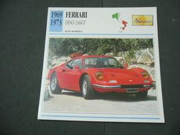 CARTOLINA CARD SCHEDA TECNICA  AUTO  CARS  FERRARI DINO 246 GT - Altre Collezioni