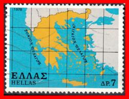 GRECIA – GREECE   SELLO  AÑO 1978 DEL MAPA DE GRECIA - Grecia