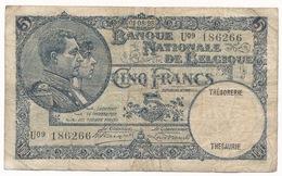 BELGIQUE 5 FRANCS  1928  - 2 SCANS - 5 Francs