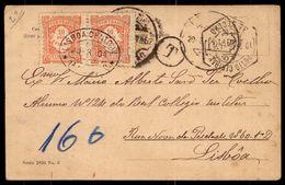 1900 Postal Fotografico Com 2 Selos PORTEADOS Para REAL COLLEGIO MILITAR Lisboa. Old R.photo Postcard NUDE BABY Portugal - 1892-1898 : D.Carlos I