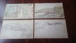 1900 1901 ST PAIR GRANVILLE 4 AQUARELLES DE ANDRE VARENNES (1882 - 1972) Format 12,5 X 21,5 Cm Env. /FREE SHIPPING R - Aquarelles