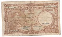 BELGIQUE 20 FRANCS  01 09 48  - 2 SCANS - 20 Francs