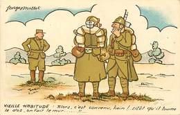 -ref-B435- Militaria - Humoristiques -  Humour - Illustrateurs - Illustrateur Georges Mallet - Militaires - Le Mur .. - Humoristiques