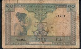 LAOS P10b 10 KIP  1962 Signature 6 FINE - Laos