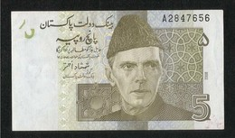 Pakistan  BANKNOTE 5 Rupees Signature SHAMSHAD AKHTAR - Pakistán