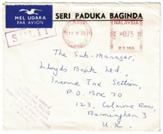 Ref 1256 - 1972 Lloyds Banking Cover - Kuala Lumpur Malaysia Meter Mark To Birmingham - Malaysia (1964-...)