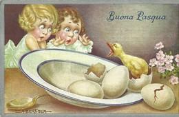 """2121 """" BUONA PASQUA-BAMBINI STRALUNATI PER IL PULCINO ARRABBIATO-ILLUSTRAZ. DI BERTIGLIA""""  CART.POST.  ORIG. NON SPEDITA - Easter"""