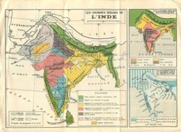 CARTE GEOGRAPHIQUE L'INDE LES GRANDES REGIONS - Geographical Maps
