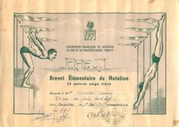 BREVET ELEMENTAIRE DE NATATION 25 METRES NAGE LIBRE  CONCARNEAU - Diplômes & Bulletins Scolaires
