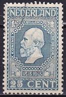 1913 Jubileumzegels 25 Cent Blauw NVPH 96 A - Gebraucht