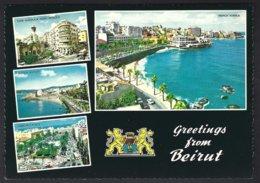 CP Krüger 987/204 - Un Bonjour De Beyrouth,multivues,armoiries - Liban