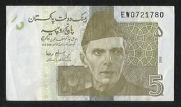 Pakistan BANKNOTE 5 Rupees 2009 Signature SALEM RAZA - Pakistan