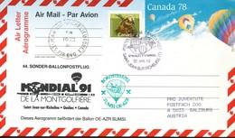 Kanada  Ballonpostfliug Nach Salzburg 1991 - Luftpost