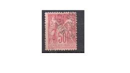 50 Centimes Rose N°104 Oblitéré Cad - 1876-1878 Sage (Type I)