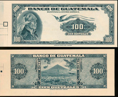 Guatemala 100 Quetzales Front And Back Proof P-28 Cardboard GEM UNC - Guatemala