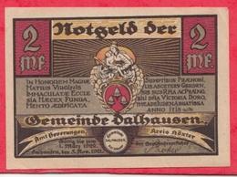 Allemagne 1 Notgeld De 2 Mark Stadt Dalhausen (RARE) Dans L 'état   N °2647 - [ 3] 1918-1933 : République De Weimar
