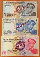Lesotho 2, 5 And 10 Maloti 1979 Specimen UNC Without Perforation - Lesotho
