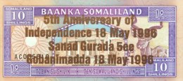 Somaliland 10 Shilin, P-9 (1994/1996) - UNC - Bronze Overprint - Somalie