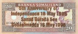 Somaliland 20 Shilin, P-10 (1994/1996) - UNC - Bronze Overprint - Somalie