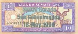 Somaliland 10 Shilin, P-15 (1994/1996) - UNC - Silver Overprint - Somalia