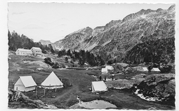 (RECTO / VERSO) CAUTERETS EN 1952 - N° 1556 - LE CAMP ET LE CHALET HOTEL  - FORMAT CPA VOYAGEE - Cauterets