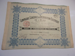 Compagnie Générale De Distribution électrique De L'oise (1910) Saine Fontaine Bulles - Unclassified
