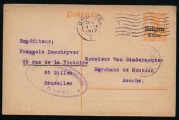 ST.GILLES  FR.DESCHRIJVER  - DUITSE CONTROLE STEMPEL 1917 - NAAR ASSE -  ZIE 2 AFBEELDINGEN - Asse