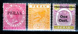 PERAK QV 1886  OVERPRINTS  + TIGERS   MH - Perak