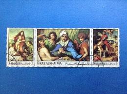 1970 RAS AL KHAIMA ANDREA DEL SARTO ARTE DIPINTI QUADRI FRANCOBOLLI USATI STAMPS USED TRITTICO - Quadri