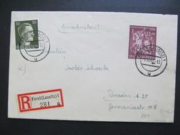 DR Nr. 861, 1943, R-Brief, MiF, Stempel Forst (Lausitz)  *DEL2169* - Germany