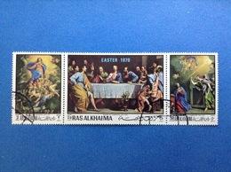 1970 RAS AL KHAIMA PHILIPPE DE CHAMPAIGNE ARTE DIPINTI QUADRI FRANCOBOLLI USATI STAMPS USED TRITTICO - Quadri