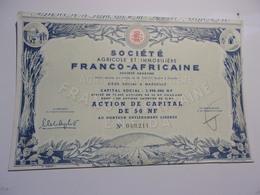 AGRICOLE ET IMMOBILIERE FRANCO AFRICAINE - Acciones & Títulos