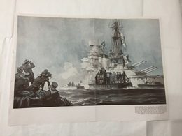 WW2 STAMPA REGIA MARINA INSERTO SPECIALE NAVE CAVOUR FIRMATA RODOLFO CLAUDUS - Stampe & Incisioni