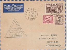 Indochine Ouverture Trafic Aérien Postal Air France HanoÏ Tonkin 5/10/1938 Pour Hong Kong - Covers & Documents