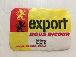 Ancienne Étiquette 1 BIÈRE BOCK EXPORT  BRASSERIE BOUS RICOUR LOON PLAGE NORD - Bière