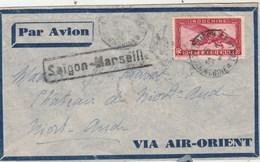 Indochine Lettre Par Avion Via Air Orient SAÏGON  1933 Pour Château De Niort Aude Griffe Saïgon Marseille - Cartas
