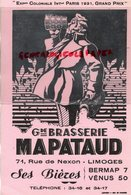 87 - LIMOGES - GRAND BUVARD BRASSERIE MAPATAUD-  EXPOSITION COLONIALE PARIS 1931- BIERES BERMAP 7- VENUS 50 - Buvards, Protège-cahiers Illustrés