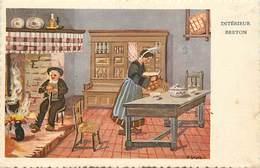 -ref-B384- Finistere - Illustrateurs - Illustrateur Geiger - Interieur Breton D Après Gouaches Originales - - France