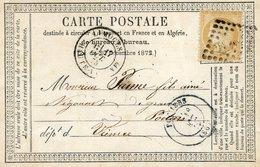 Carte Postale De Limoges à Poitiers 1875 - Cérés 15c N°55 - Marcophilie (Lettres)