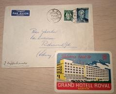 Norway NARVIK 1952 ILLUSTRATED ROYAL GRAND HOTEL Cover > Schweiz + Luggage Label (Brief Advertising Envelope Lettre - Noorwegen