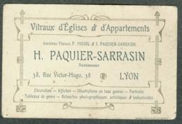 Carte De Visite Publicitaire Création De Vitraux D' église Paquier Sarrasin Lyon - Cartoncini Da Visita