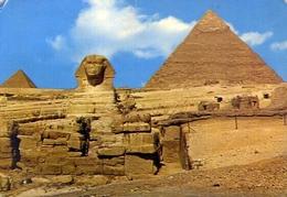 Giza - The Sphinx With Khephren And Mykerinos Pyramids - Formato Grande Viaggiata Mancante Di Affrancatura – E 9 - Gizeh