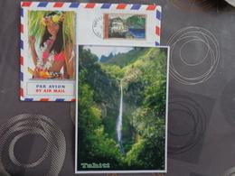 TAHITI   CARTE POSTALE  + ENVELOPPE + TIMBRE PAPEETE - Tahiti