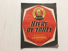 Ancienne Étiquette 1 BIÈRE TABLE BRASSERIE LA NATIONALE DOUAI BOUCHART  NORD - Bière