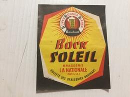 Ancienne Étiquette 1 BIÈRE BOCK SOLEIL  BRASSERIE LA NATIONALE DOUAI BOUCHART  NORD - Bière