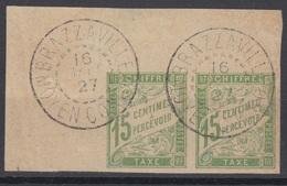 #133# COLONIES GENERALES TAXE N° 20 En Paire Oblitéré Brazzaville (Moyen Congo) - Postage Due