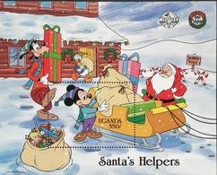 Uganda 1988 Christmas , Mickey Mouse 60th. Birthday S/S - Uganda (1962-...)